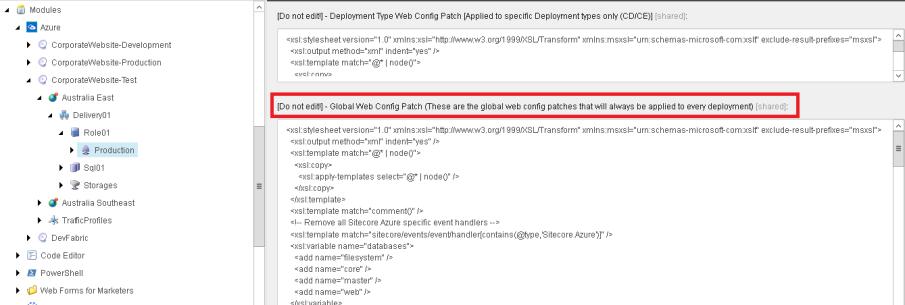Sitecore Azure Module Deployment Configuration Item