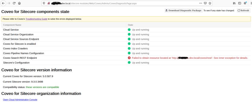 Coveo Diagnostic Page REST API Error